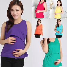 Fashion Pregnant Maternity Clothes Nursing Tank Tops Breastfeeding Vest T-Shirt