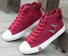 Sh Womens Fashion Canvas Sneakers Zipper Lace Up Mid Top Casual Flats Shoes Hot