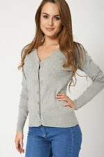 Ladies Small Button Up Grey Cardigan Womens Top Sweater Jumper Knitwear NEW