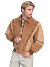 Scully Leather Mens Western Boar Suede Rodeo Jacket Cafe Brown/Camel