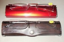 2 Pair +2.25 Rimless Compact Reading Glasses w Spring Hinges w Cases Red & Black