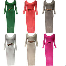 New Women Ladies Lace Fish Net Belted Long Sleeve Summer Party Long Maxi Dress
