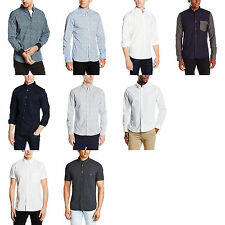 Mens French Connection Long Sleeve & Short Sleeve Collared Designer Shirt