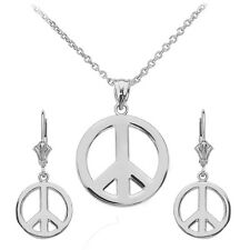 14k White Gold Open Boho Peace Symbol Pendant Necklace & Matching Earrings