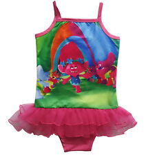 Kids Girls Trolls One Piece Cute Cartoon Bikini Summer Swimwear Bathing Swimsuit