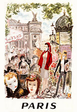 PARIS vintage poster  print on Paper or Canvas Giclee Poster 13X18 to 44X60
