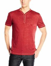 John Varvatos Star USA Men's Short-Sleeve Burnout Henley Shirt