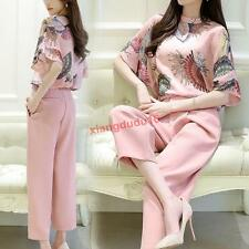 Womens Stylish Pink 2PCS Leisure Pants Printing Tops Wide Leg Pants Casual Suit