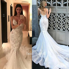Sexy Spaghetti Mermaid Wedding Dress Low Back Appliques Bridal Gowns White Ivory
