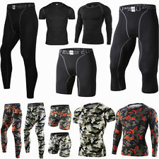 Fitness Mens Sport Compression Tights Base Layer Long Pants Sleeve T-Shirts