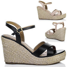 Womens Platform Wedge Heel Espadrille Sandals Shoes Sz 3-8