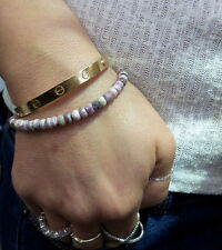 BEADED BRACELET WITH STERLING SILVER LOBSTER LOCK PINK SUN STONE