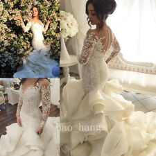 Mermaid Lace Wedding Dresses Ruffles Long Train Bridal Gowns Sleeves White Ivory