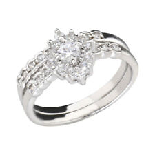 Cluster Round Cubic Zirconia Rhodium EP Bridal Engagement Wedding Ring Set