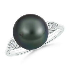 10MM Classic Ball Tahitian Cultured Pearl Cocktail Ring with Diamond Pear Motifs