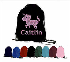 UNICORN PERSONALISED GYM BAG SAC TEXT NAME SWIM SPORTS PE SCHOOL DRAWSTRING