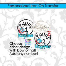 DR SEUSS THING 1 OR THING 2 PERSONALIZED IRON ON TRANSFER ANY NUMBER CAT IN HAT
