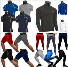 Men's Gym Compression Base Layer Tights Tops Under Skins T-Shirts Shorts Pants