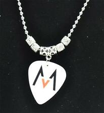 Tibetan Silver Maroon 5 Guitar Pick Pendant Necklace  2.4mm Bead Chain Necklace
