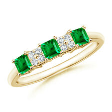 Diamond Cluster and Three Stone Square Emerald Ring 14k Solid Gold/ Platinum