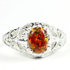 Created Red Brown Opal, 925 Sterling Silver Ring, SR113-Handmade