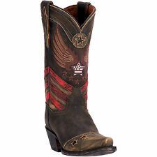 Dan Post Womens Brown Ndependence Leather Cowboy Boots Flag