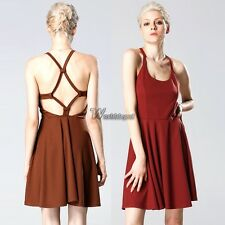 ACEVOG Sexy Women Strap Backless High Waist Solid Pleated Dress Casual WT8801