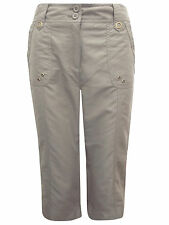 New ex-Chainstore Mocha Cropped Cargo Summer Petite Trousers UK Size 8-20 -