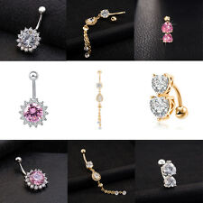 3PCS BLING Stunning Belly Button Navel Ring Crystal Jewelry Dangle Body Piercing