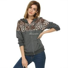 Stylish Women Leopard Stitching Sweater shirt Hooded Long Sleeve Pullover BF9