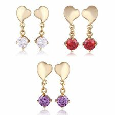 Lovely Heart Round Crystal wedding Dangle Stud Earrings Yellow Gold Filled