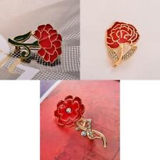 Diamante Crystal Enamel Red Pin Brooch Carnation Flower Breastpin Mother's Gifts