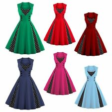 Vintage 50s 60s Dress Pleat Swing Pinup Retro Housewife Party Rockabilly Dress