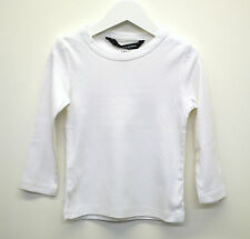 Boys Ex H&M Long Sleeve T-Shirt Top Organic Cotton White Age 1 to 10 Years Kids