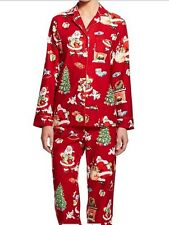 Women's Nick and Nora Santa Flannel Pajama Set Size  M, L, XL   NEW w Tag