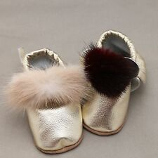 Pom Pom Baby Moccasins Infant Toddlers Bow Boys Gold Genuine Leather Shoes