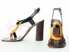 Miu Miu Italy Patent Leather Wood Heel Strappy Heels Shoes Sandals Size 37.5