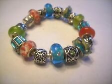 European Style Charm Bracelet Orange Turquoise Blue Murano Glass Beads Charms
