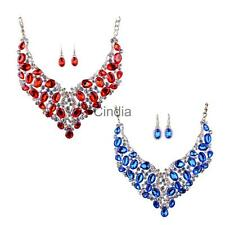 Charm Wedding Bridal Crystal Gemstone Statement Necklace Earrings Set 2 Colors
