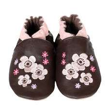Soft sole leather crib shoes, Little Steps Brown w/pink Flowers,s18-24m, s 6.5-8