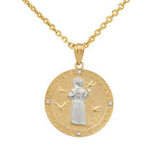 10k Two Tone Gold Saint Francis Assisi Medallion Diamond Small Pendant Necklace