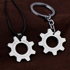 Hot Silver Gears of War Cog Tag Choker Necklace Keychain Key Ring Pendant Gift