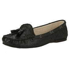 LADIES RAVEL ELOY FLAT LEATHER BLACK SLIP-ON MOCCASIN LOAFERS SHOES SIZES 3-8
