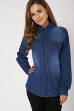 Ladies Blue Faded Denim Double Pocket Shirt Blouse Top Ex-Branded Size 8 - 16