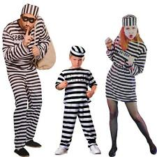 Convict Prisoner Jail Stag Night Halloween Fancy Dress Costume Outfit with Hat