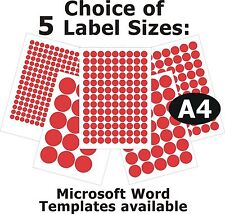 RED Round Laser Copier Inkjet Printer Labels 5 A4 Sheets Self-Adhesive Stickers