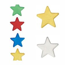 12 Edible Sugar Stars - Cake Decorations - Red, Yellow, Blue, Green or Mixed
