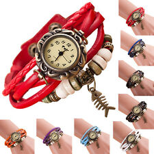Girl Watch Quartz Weave Leather Fishbone Bracelet Woman Watch Wrist Watches Hot