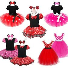 Kids Girls Baby Polka Dots Mouse Halloween Outfit Fancy Dress Up Costume+Ear