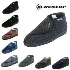 Mens Quality DUNLOP Burgundy/Navy Orthopaedic Adjustable Boot Slippers Size 6-12